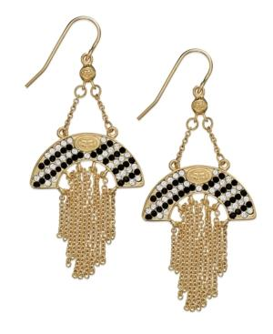 Sis By Simone I Smith 18k Gold Over Sterling Silver Earrings, Black And White Crystal Cascading Dangle Earrings