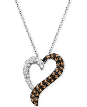 Le Vian Chocolatier Diamond Heart 18 Pendant Necklace (1/3 Ct. T.w.) In 14k White Gold