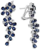 Royal Bleu By Effy Sapphire (9 Ct. T.w.) And Diamond (3/4 Ct. T.w.) Drop Earrings In 14k White Gold