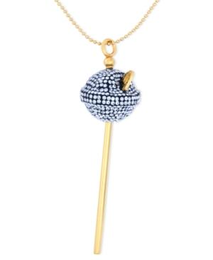 Sis By Simone I Smith 18k Gold Over Sterling Silver Necklace, Medium Blue Crystal Lollipop Pendant