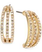 Carolee Gold-tone Pave Half-hoop Earrings