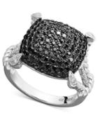 Sterling Silver Ring, Black And White Diamond Square Rope Ring (1 Ct. T.w.)