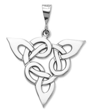 14k White Gold Charm, Trinity Charm