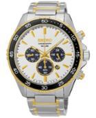 Seiko Men's Solar Chronograph Two-tone Stainless Steel Bracelet Watch 44mm Ssc446