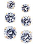 Cubic Zirconia 3-pc. Set Stud Earrings In 10k Gold