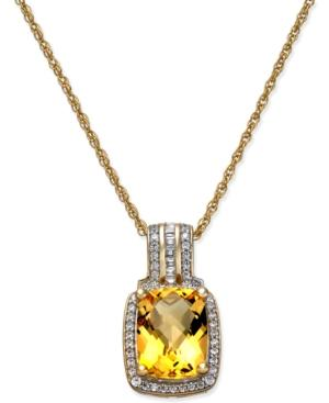 Citrine (2 Ct. T.w.) & Diamond (1/5 Ct. T.w.) Pendant Necklace In 14k Gold