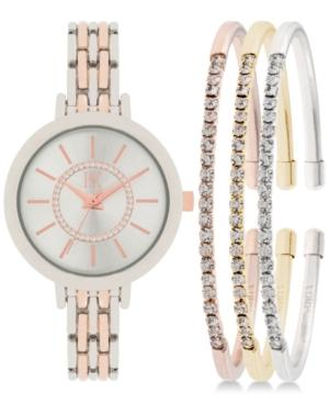 Inc International Concepts Women's Two-tone Bracelet Watch 34mm And Crystal Accented Bracelet Set In016srg, Only At Macy's