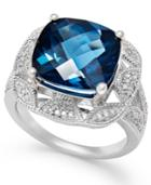 London Blue Topaz (7 Ct. T.w.) And Diamond (1/7 Ct. T.w.) Ring In Sterling Silver