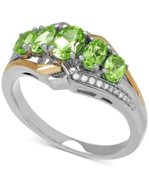 Peridot (1-3/8 Ct. T.w.) And Diamond Accent Ring In Sterling Silver And 14k Gold