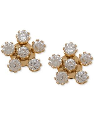 Children's Cubic Zirconia Flower Stud Earrings In 14k Gold
