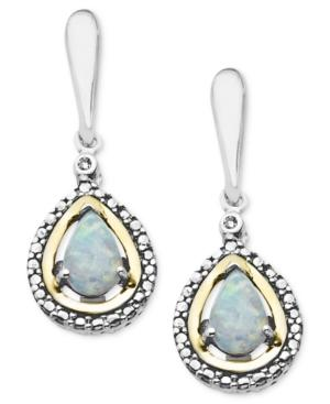 14k Gold And Sterling Silver Earrings, Opal (1/2 Ct. T.w.) And Diamond Accent Teardrop Earrings