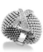 Diamond X-accent Mesh Ring In Sterling Silver (1/6 Ct. T.w.)