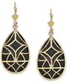 Onyx Teardrop Filigree Drop Earrings In 14k Gold