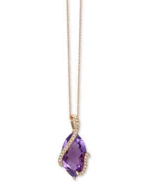Effy Pink Amethyst (6-3/8 Ct. T.w.) & Diamond (1/8 Ct. T.w.) 18 Pendant Necklace In 14k Rose Gold