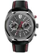 Scuderia Ferrari Men's Chronograph Formula Sportiva Black Leather Strap Watch 43mm 830209