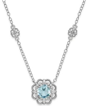 Aquamarine (3/4 Ct. T.w.) And Diamond Accent Pendant Necklace In 14k White Gold