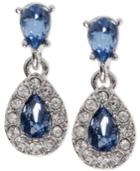 Givenchy Silver-tone Blue Crystal And Pave Halo Drop Earrings