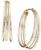 14k Tri-tone Gold Oval Hoop Earrings