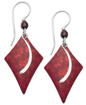 Jody Coyote Patina Brass Earrings, Red Diamond And Glass Bead Drop Earrings