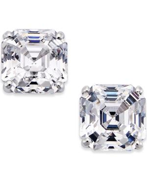 Cubic Zirconia Stud Earrings In 14k White Gold