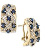 Sapphire (4-1/5 Ct. T.w.) And Diamond (3/8 Ct. T.w.) Earrings In 14k Gold