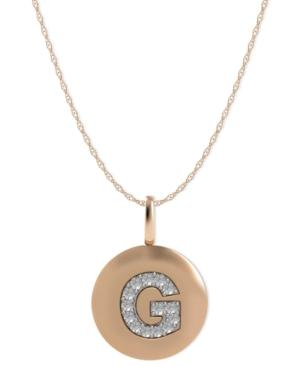 14k Rose Gold Necklace, Diamond Accent Letter G Disk Pendant