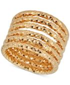 Textured Multi-band Ring In 14k Gold-plated Sterling Silver