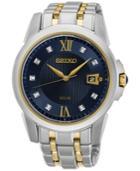 Seiko Men's Solar Diamond Accent Le Grand Sport Two-tone Stainless Steel Bracelet Watch 41mm Sne428