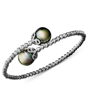 Pearl Bracelet, Sterling Silver Cultured Tahitian Pearl (9mm) And Sparkle Bead Cuff