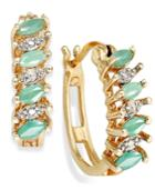 Victoria Townsend 18k Gold Over Sterling Silver Earrings, Emerald (3/4 Ct. T.w.) And Diamond Accent Marquise Hoop Earrings