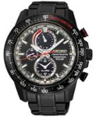Seiko Men's Solar Chronograph Sportura Black Stainless Steel Bracelet Watch 45mm Ssc373