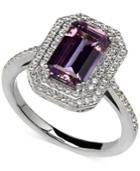 Arabella Purple And White Swarovski Zirconia Ring In Sterling Silver
