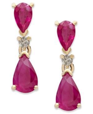 14k Gold Earrings, Ruby (1-5/8 Ct. T.w.) And Diamond Accent Pear Drop Earrings