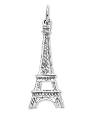 14k White Gold Charm, Solid Eiffel Tower Charm
