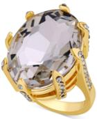Guess Gold-tone Crystal Cocktail Ring