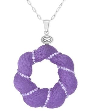 Sis By Simone I Smith Platinum Over Sterling Silver Necklace, Crystal And Purple Lucite Pendant