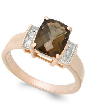 Smoky Quartz (1-9/10 Ct. T.w.) & Diamond (1/8 Ct. T.w.) Ring In 14k Rose Gold