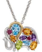 Multi-gemstone Elephant Pendant Necklace (3-1/4 Ct. T.w.) In Sterling Silver And 14k Gold-plated Sterling Silver