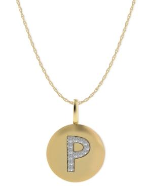 14k Gold Necklace, Diamond Accent Letter P Disk Pendant