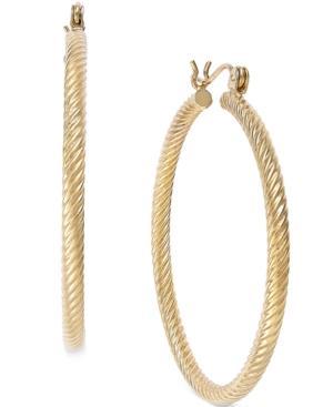 Cable Twist Hoop Earrings In 14k Gold