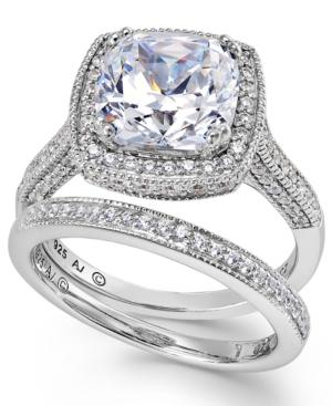 Arabella Sterling Silver Ring Set, Swarovski Zirconia Bridal Ring And Band Set (7-5/8 Ct. T.w.)