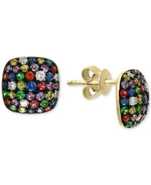 Effy Multi-sapphire (1-1/3 Ct. T.w.) & Diamond (1/6 Ct. T.w.) Stud Earrings In 14k Gold