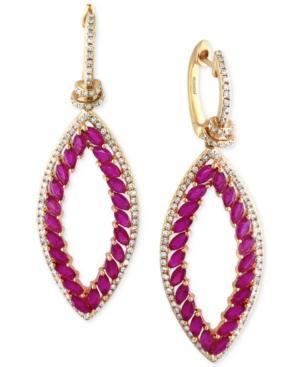 Effy Ruby (5 Ct. T.w.) And Diamond (3/4 Ct. T.w.) Earrings In 14k Gold