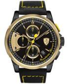 Scuderia Ferrari Men's Chronograph Formula Italia Black Leather Strap Watch 46mm 0830314