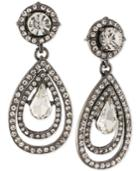 Abs By Allen Schwartz Hematite-tone Crystal Teardrop Earrings