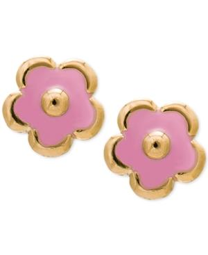 Children's Pink Flower Earrings In 14k Gold