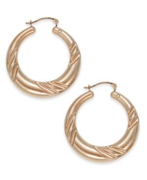 Signature Gold™ 14k Rose Gold Earrings, Graduated Swirl Hoop Earrings