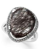Sterling Silver Ring, Black Rutilated Quartz (11-1/5 Ct. T.w.) And Diamond (1/4 Ct. T.w.) Ring