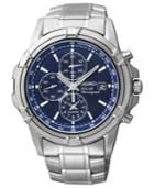 Seiko Watch, Men's Chronograph Solar Stainless Steel Bracelet 43mm Ssc141