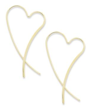14k Gold Earrings, Heart Crossover Earrings